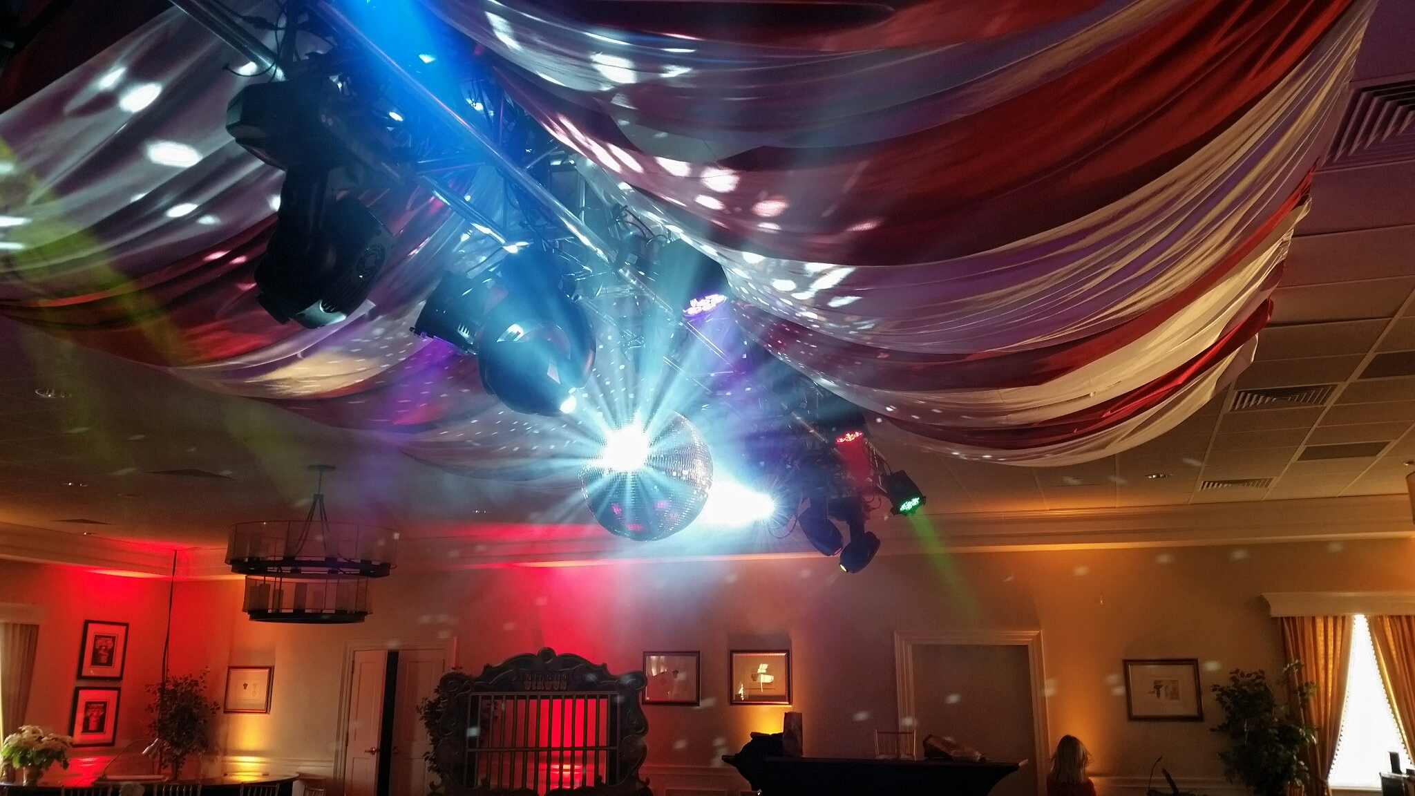 Wedding Lighting and drape suspended from truss