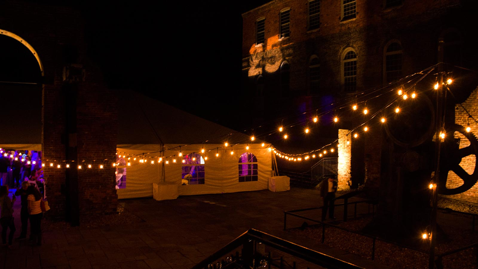 Festooning bistro lights wedding