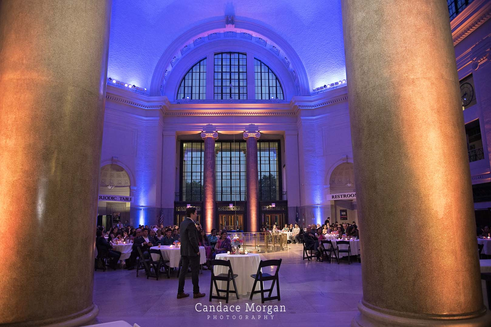 Wedding and event uplighting science museum richmond virginia