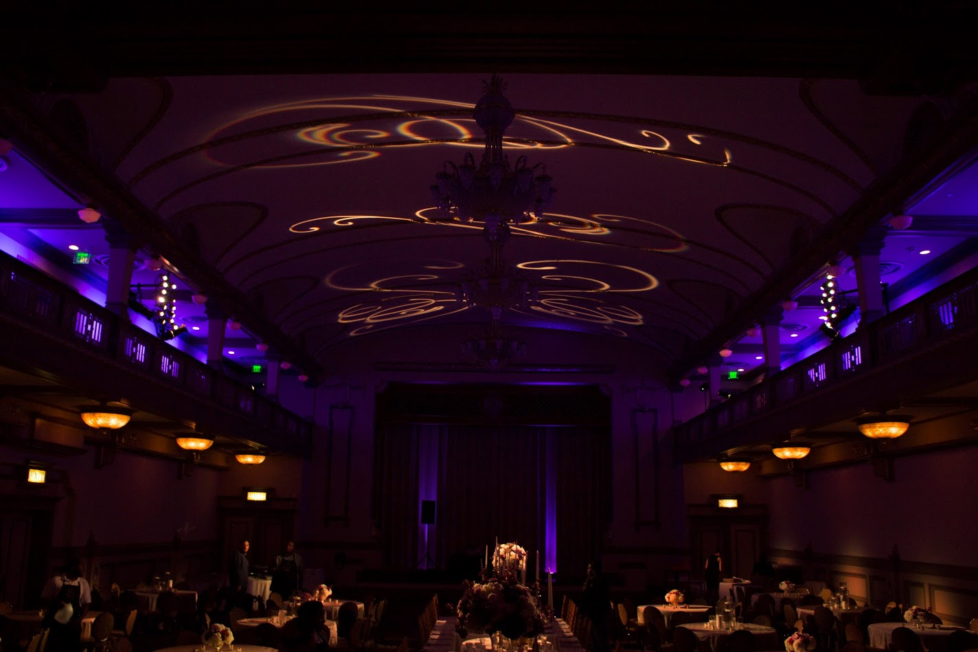 Pattern Gobos projected on the ceiling of a venue