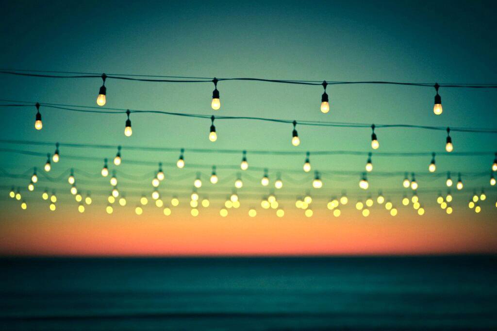 Bistro lighting on beach