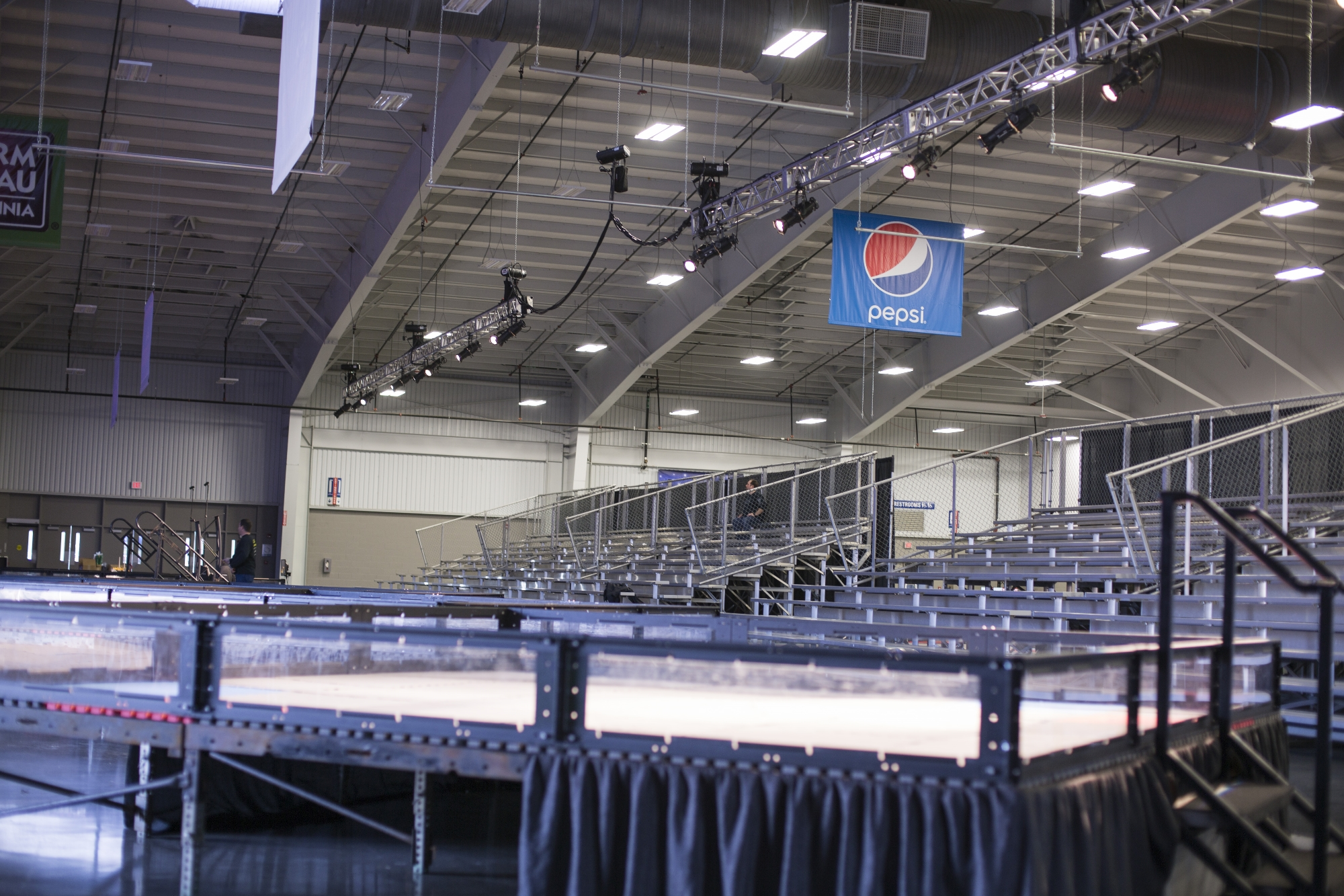 VEX Robotics Competition Fields lit by stage lighting