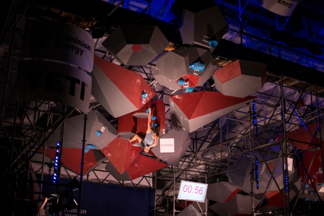 Rock climbing sports event lighting