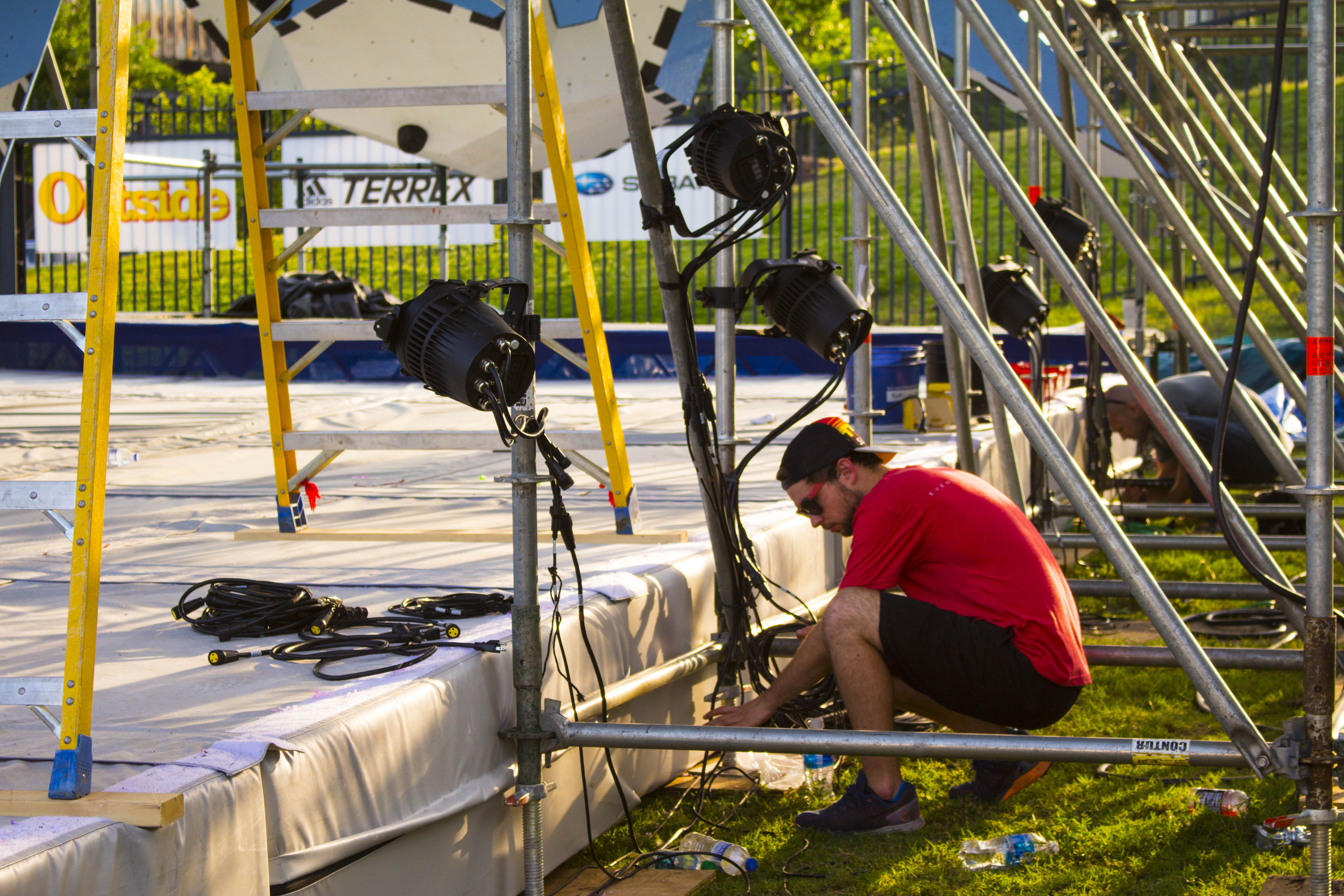 setting up lighting sports event