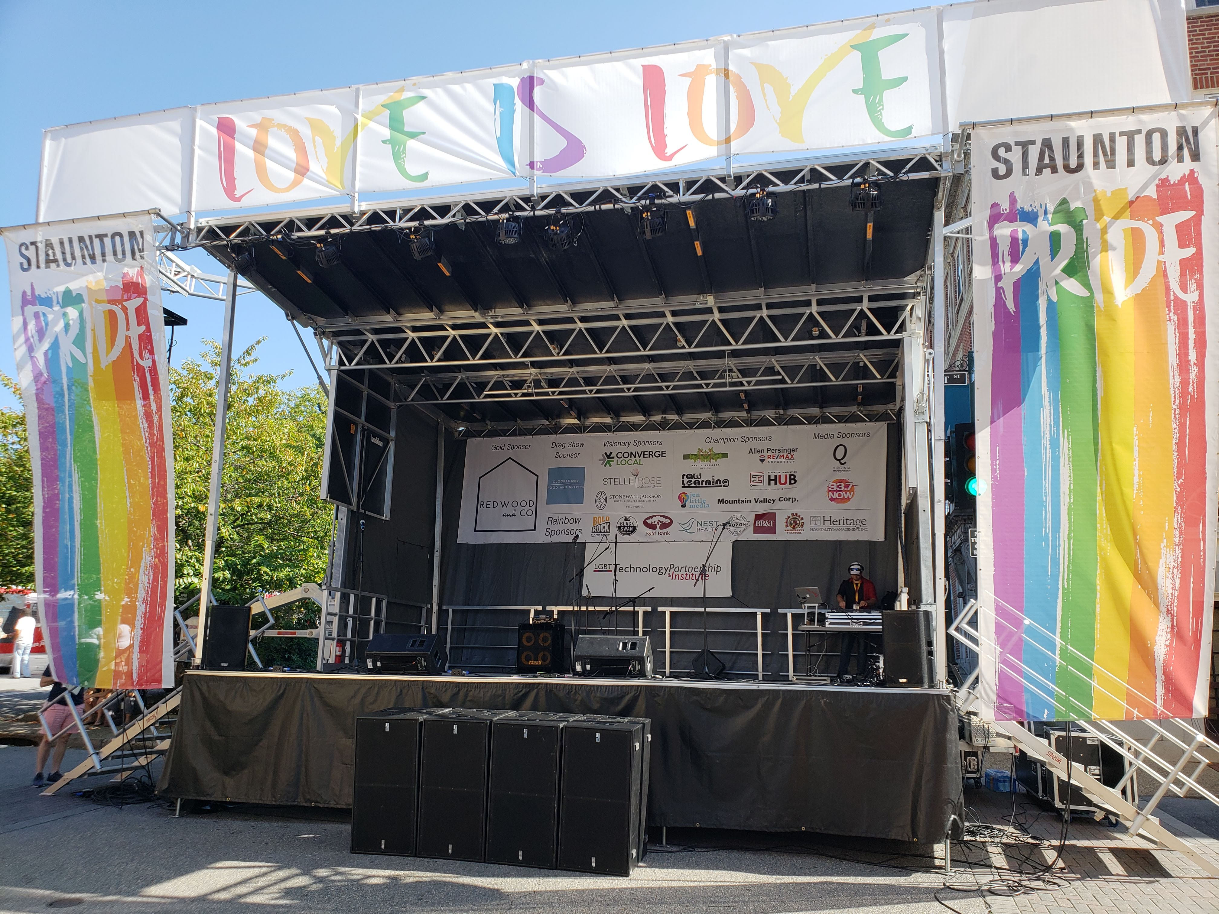 An SL100 mobile stage with full banner kit is set up for Staunton Pride Festival