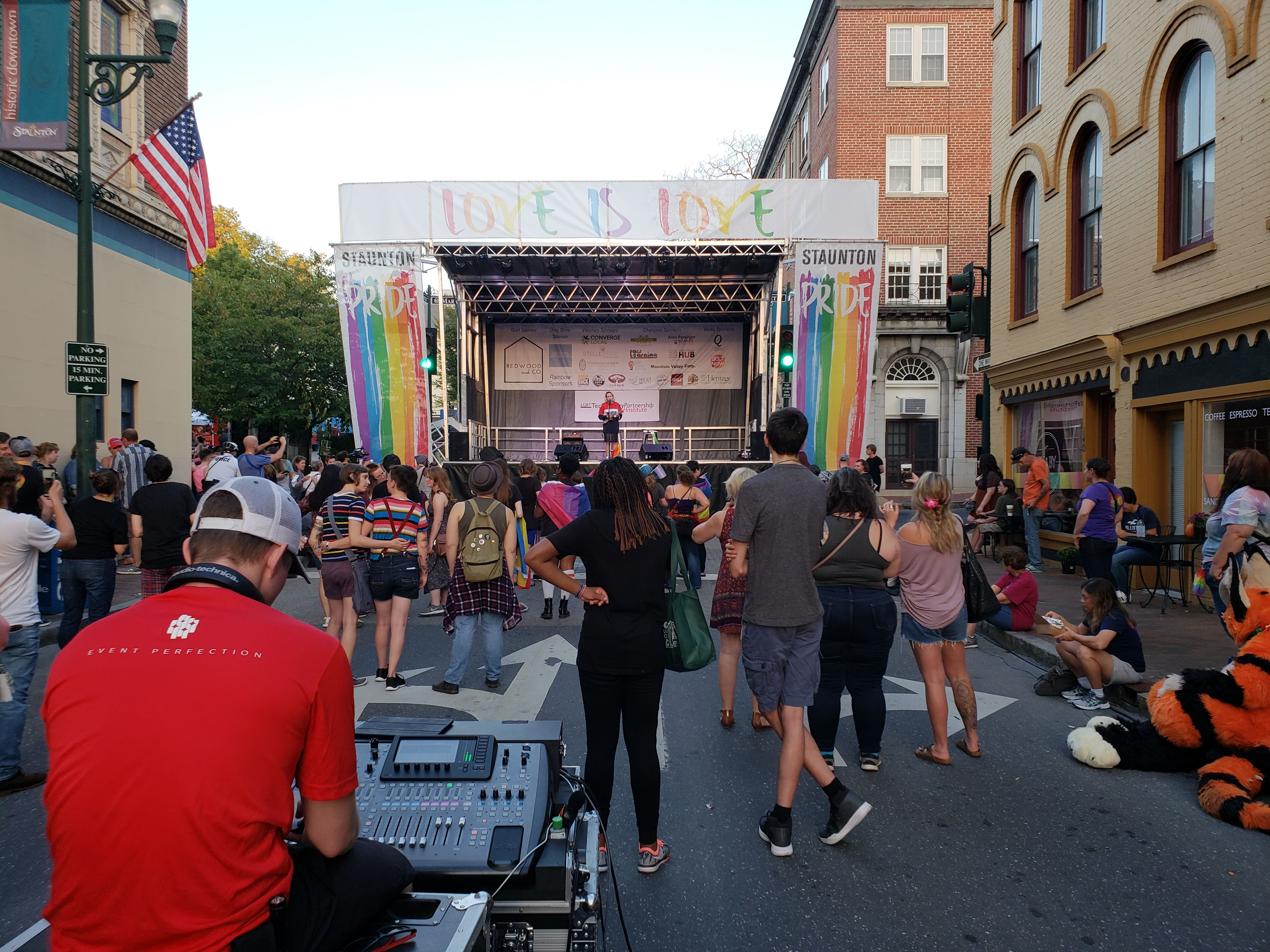 An LSC Audio Engineer operates the sound system at Staunton Pride Festival