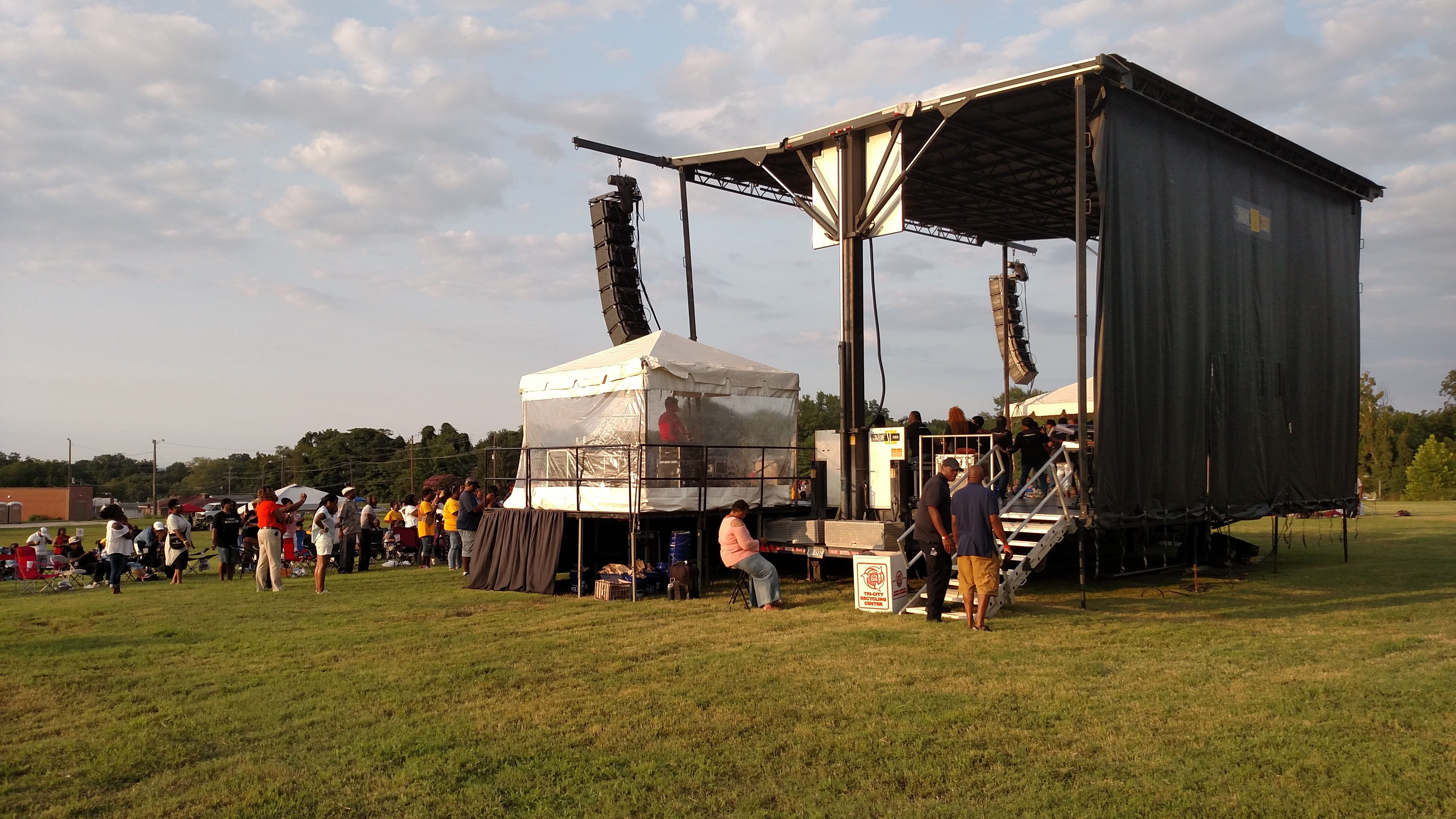 Stageline SL260 is setup for event in Petersburg VA, showing view from the rear of the stage