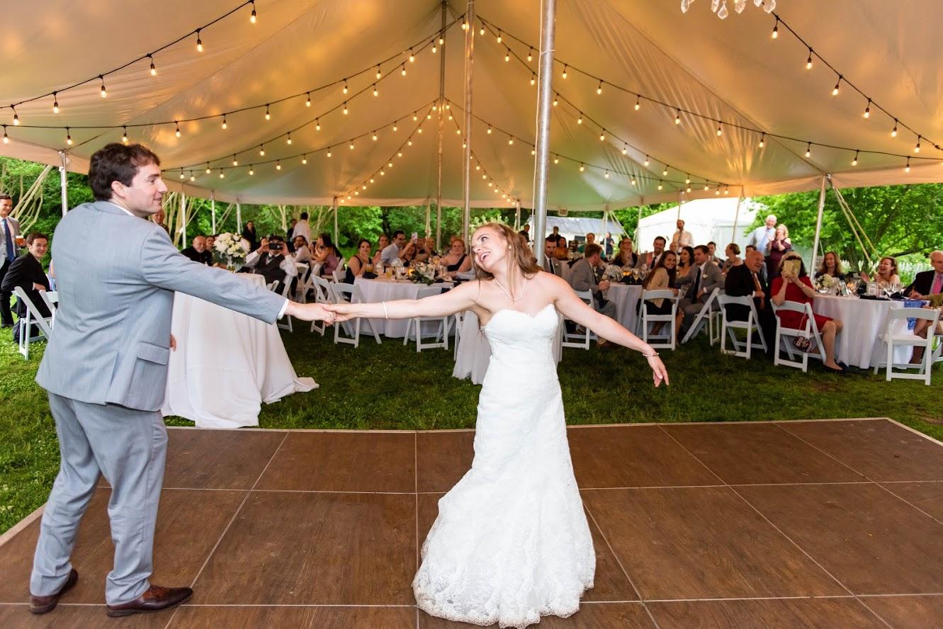 Backyard wedding lighting and decor tent bistro lighting