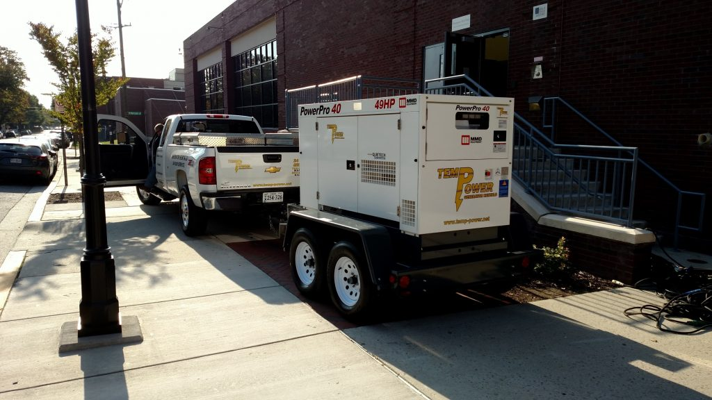 45 kva quiet run diesel generator is delivered to provide temporary power for an event in Richmond VA